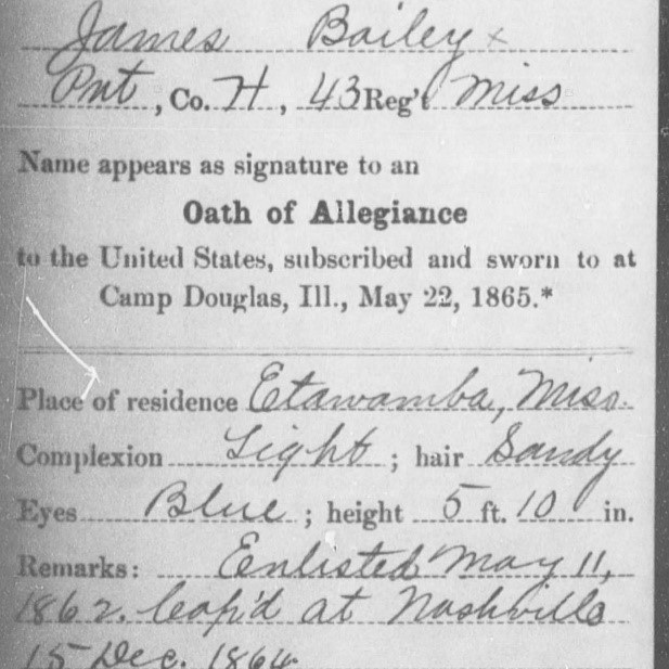 Pvt. James Bailey, Co. H, 43rd MS Infantry, CSA