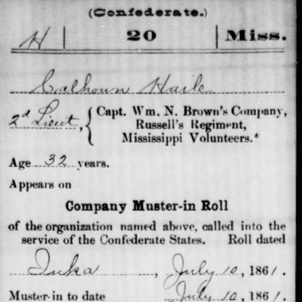 CPT. Calhoun Haile, Co. A, 20th MS Infantry, CSA