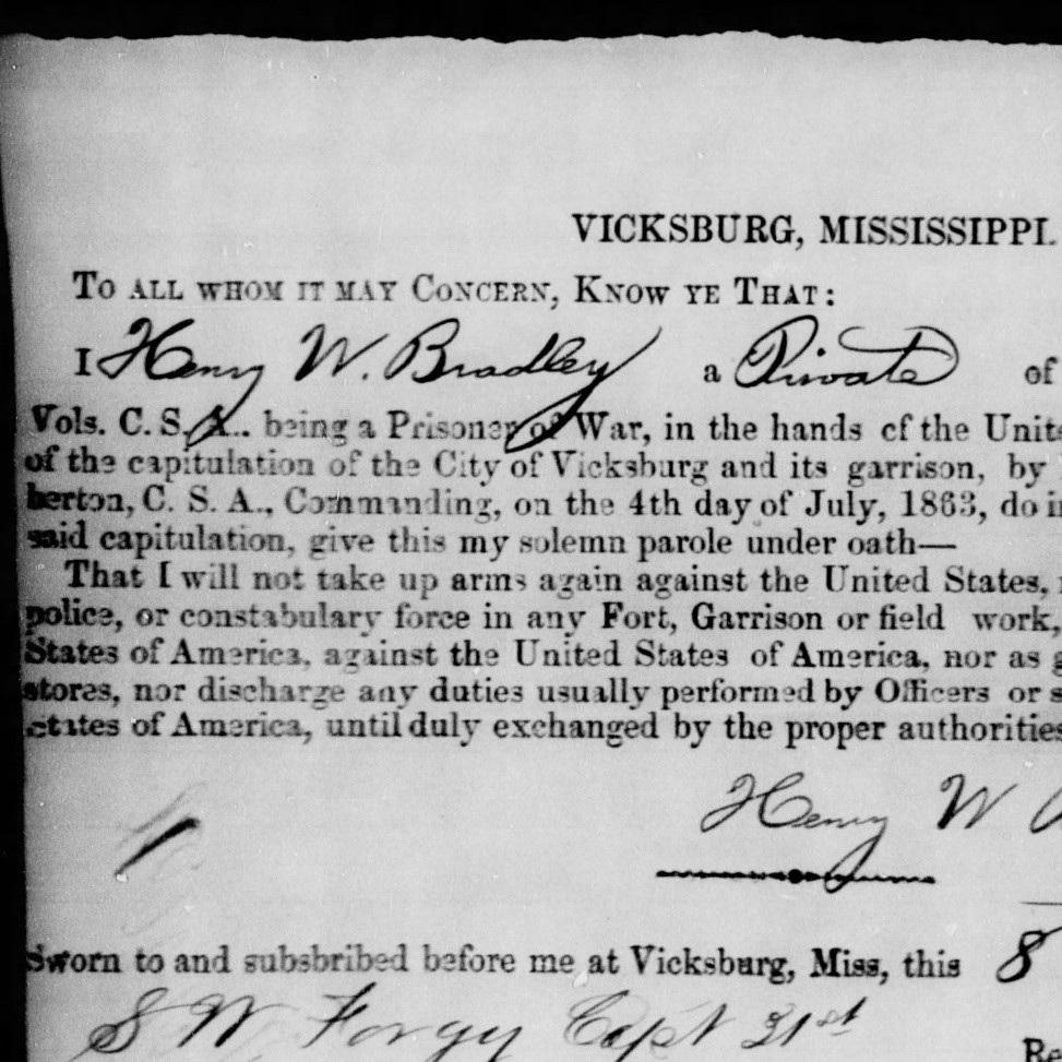 Pvt. Henry Bradley, Co. F, 5th MO Infantry, CSA