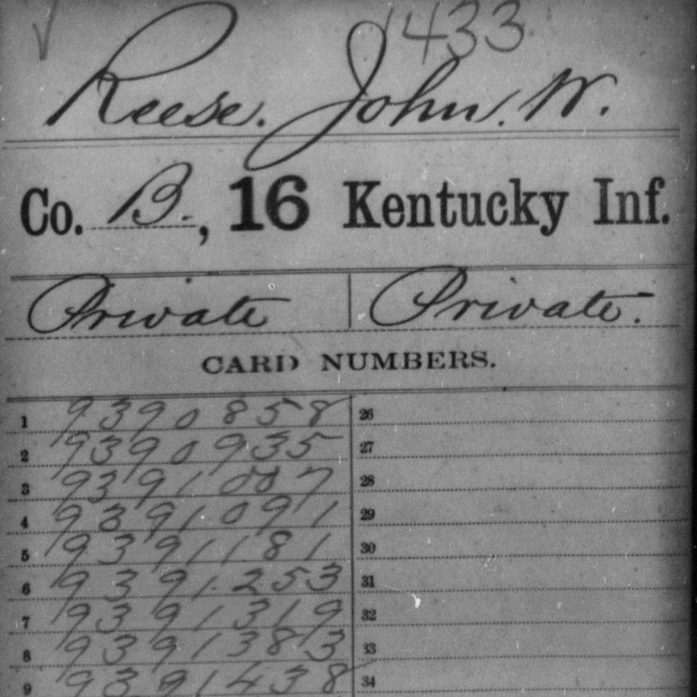 Pvt. John W. Reese, Co. B, 16 KY Infantry