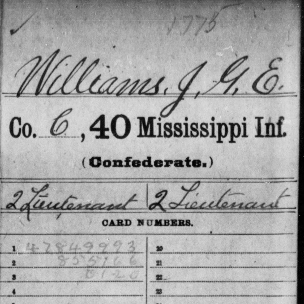 Cpl. Joseph Green English Williams, Co. E, 40th MS Infantry, CSA