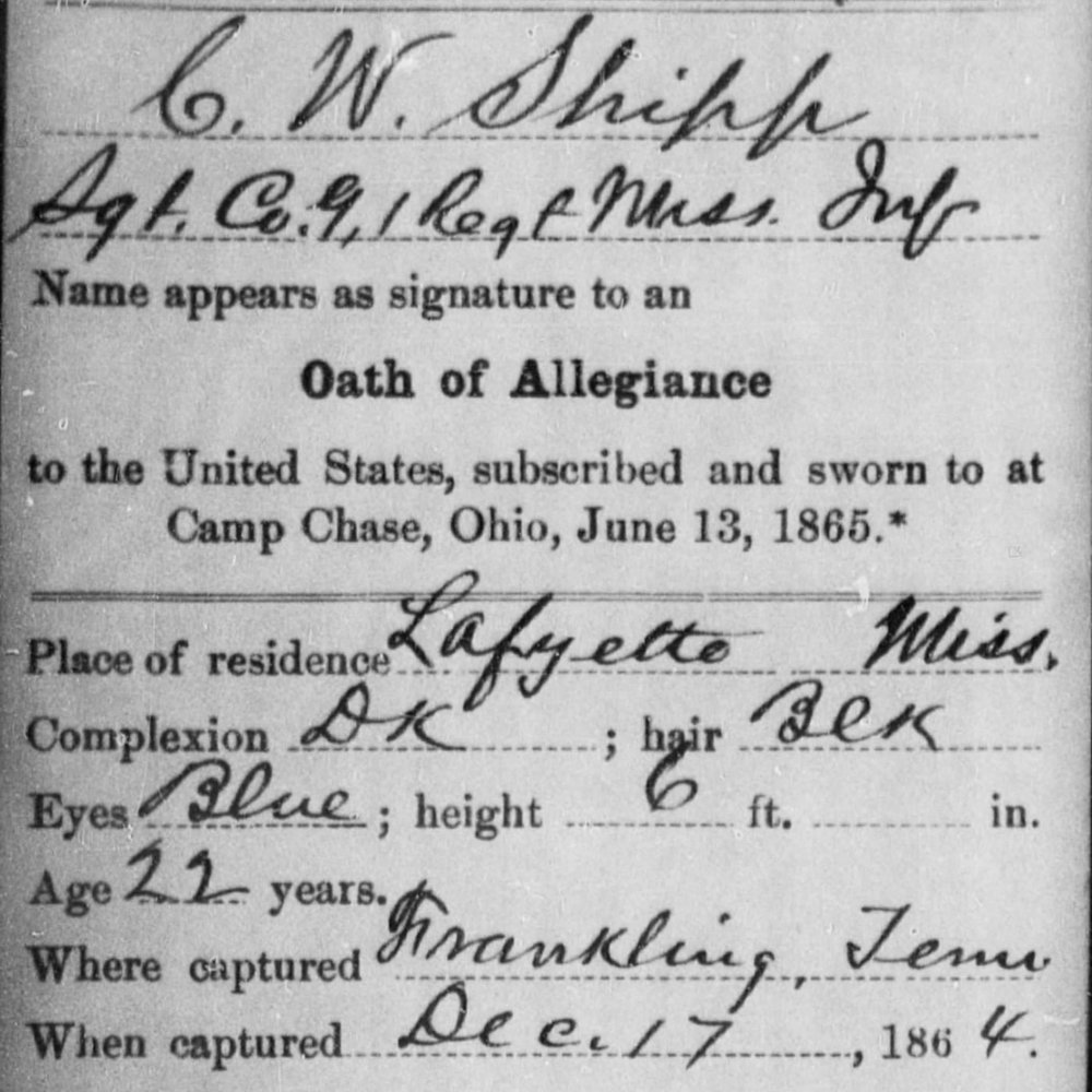 Sgt. Cleophas Shipp, Co. G, 1 MS Infantry, CSA