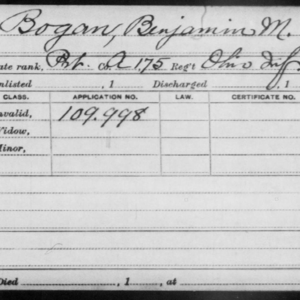 Pvt. Benjamin M. Bogan, Co. A, 175th Ohio Infantry, USA
