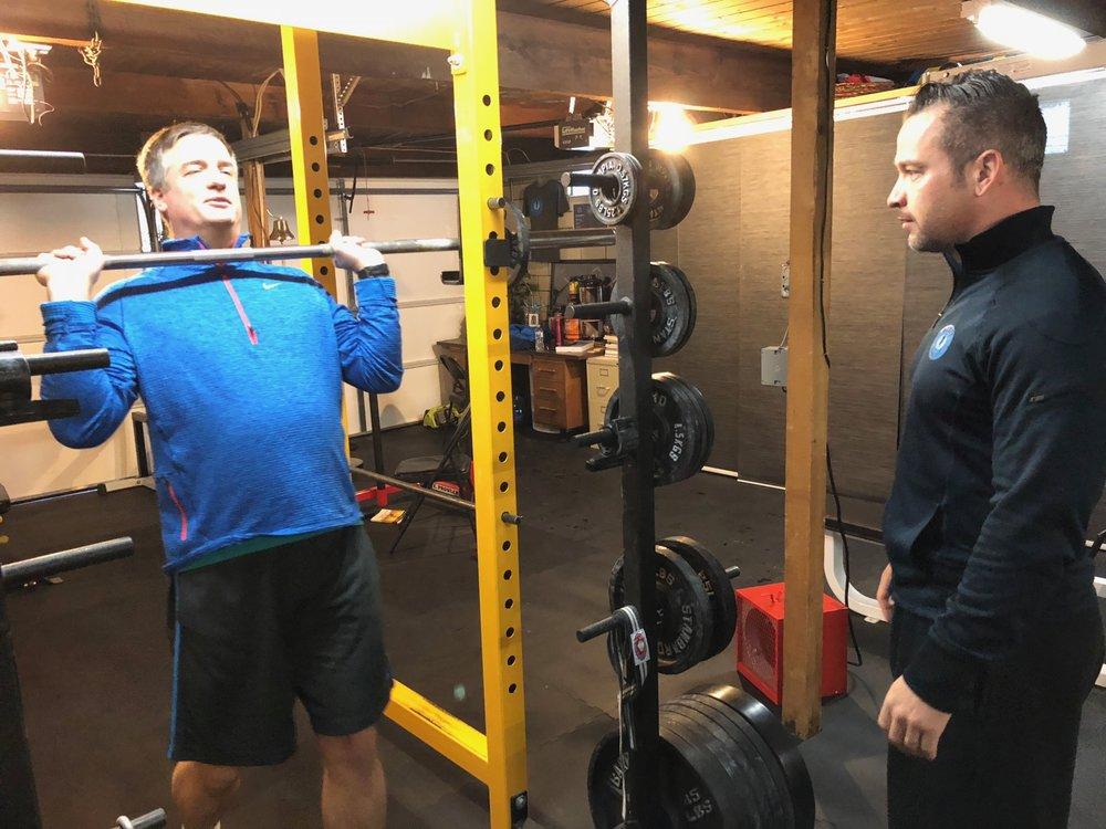 - Kurt working on his Shoulder Press technique.