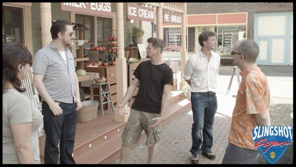 Jon Cross ,  Kyle Kochan ,  Matt Farley  and  Jim Wallace  on the set of   Slingshot Cops