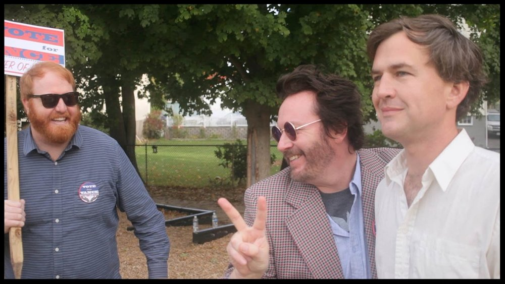 Randy Liedtke ,  Brendon Walsh  and  Matt Farley  filming   Slingshot Cops