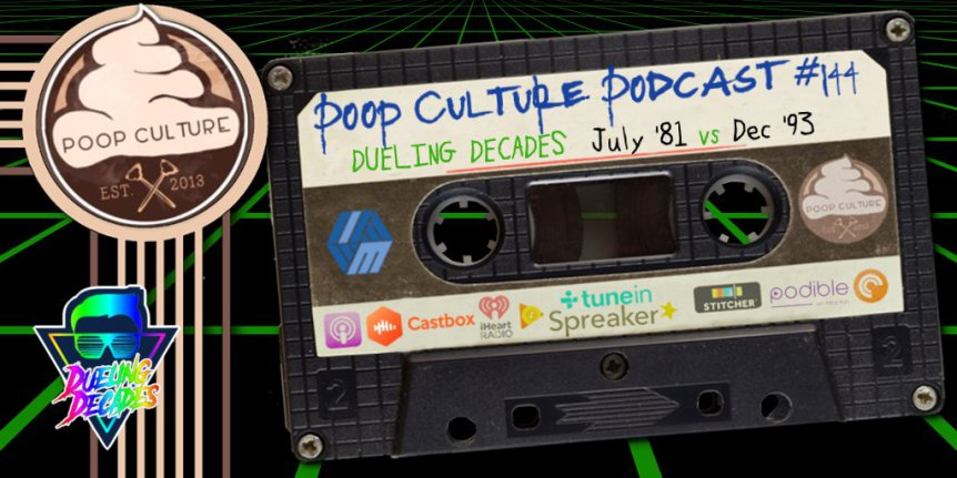 Poop Culture 144 – Dueling Decades July 1981 vs December 1993 - This week on the show the Team of Marc and the Mancrush reunite as the The Mamalukes to take on the deadly combo of Harley Davidson & The Marlboro Man made up of Beau Becraft and his partner Mike Ranger!Once again the Honorable Jon Cross creator and host of The After Movie Diner presides over this retro rampage to deliver a verdict you will want to hear to believe!
