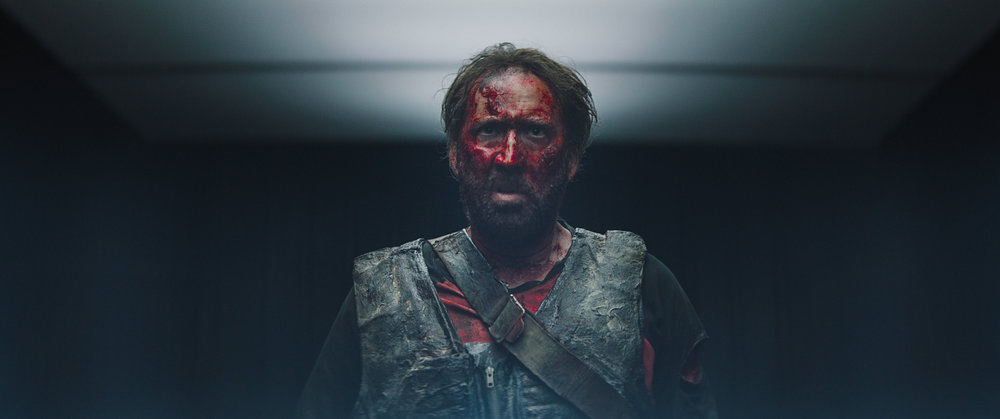 "Nicolas Cage  as Red in the action, thriller film  ""MANDY""  an   RLJE Films   release. Photo courtesy of  RLJE Films."