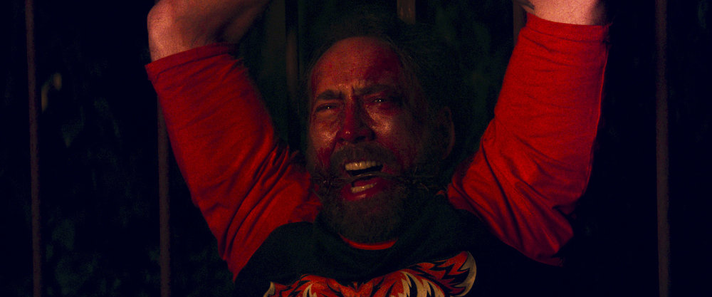 "Nicolas Cage  as Red in the action, thriller film  "" MANDY ""  an RLJE Films release. Photo courtesy of  RLJE Films ."