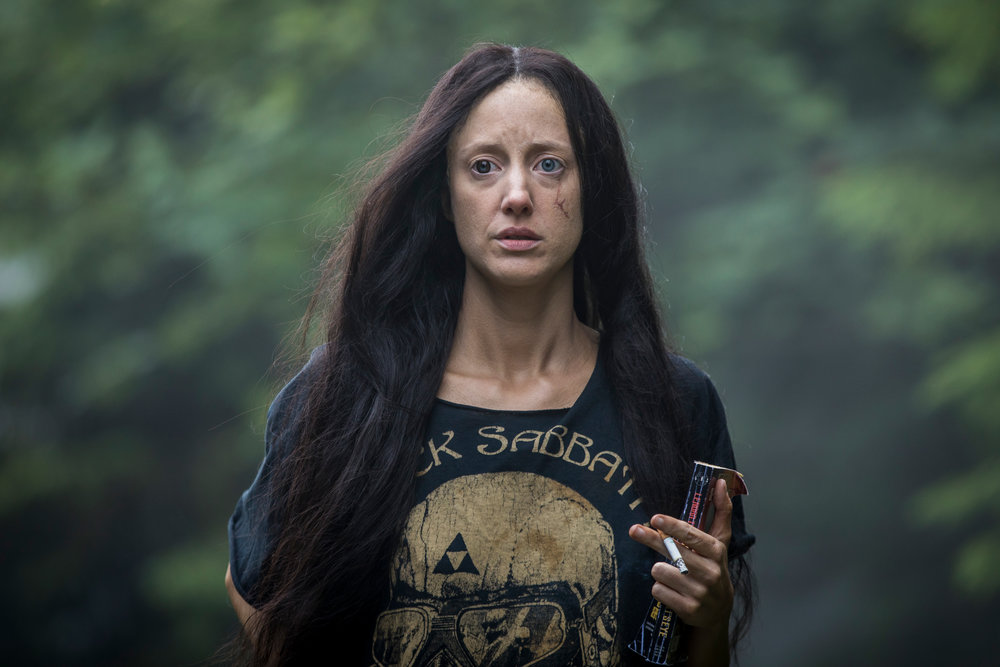 "Andrea Riseborough  as Mandy in the action, thriller film  "" MANDY ""  an  RLJE Films  release. Photo courtesy of  RLJE Films ."