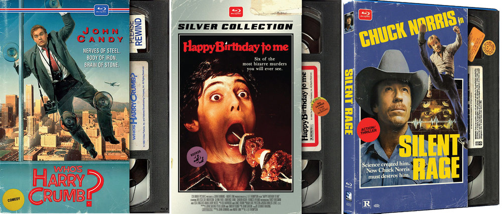 Mill Creek 's cool VHS style Blu-ray covers for classic rental titles.
