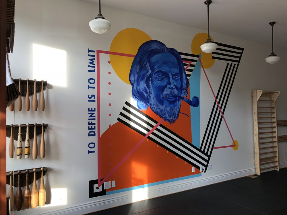 "FlowState STL ""Alan Watts Mural""    15' x 12' mural created for FlowState STL, a muscle club and movement studio dedicated     to unconventional training."