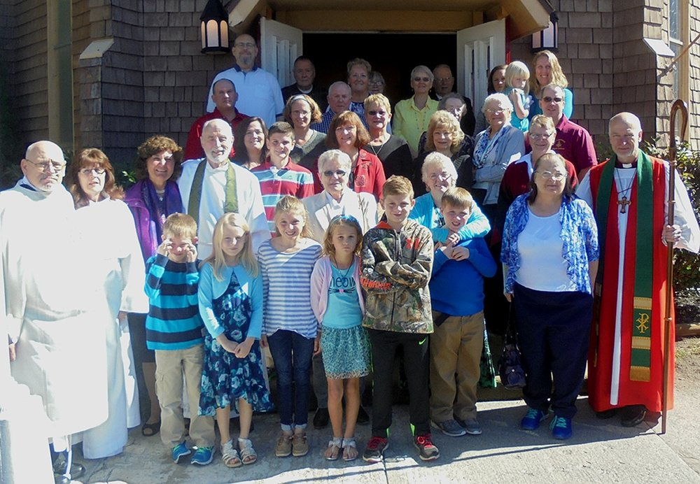 On Sunday, September 25, the Trinity Episcopal Church of Gouverneur celebrated its 150th anniversary with special guests (far right in front), The Right Reverend William H. Love, Bishop of Albany along with The Reverend Robert L. Graham (1991-1995) and his wife Joan (second row third and fourth) along with The Reverend Greg Bailey and wife Trudy (second row first and second).  (Wyman photo)