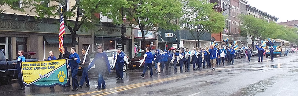 Gouverneur High School Marching Band showing off their performing talents during the Memorial Day Parade under the direction of Victor Correa.