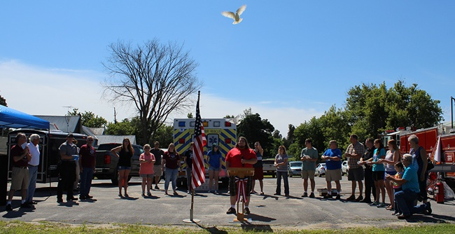 The ceremonial pigeon release at the 2017 Fowler Family Day's official opening ceremony. Volunteers released the pigeons, one by one. They flew over the head of vocalist Brandon Griffin who had just finished singing the national anthem. The ceremonial pigeon release was orchestrated by Luis Gutierrez of Fowler. (Rachel Hunter photo)