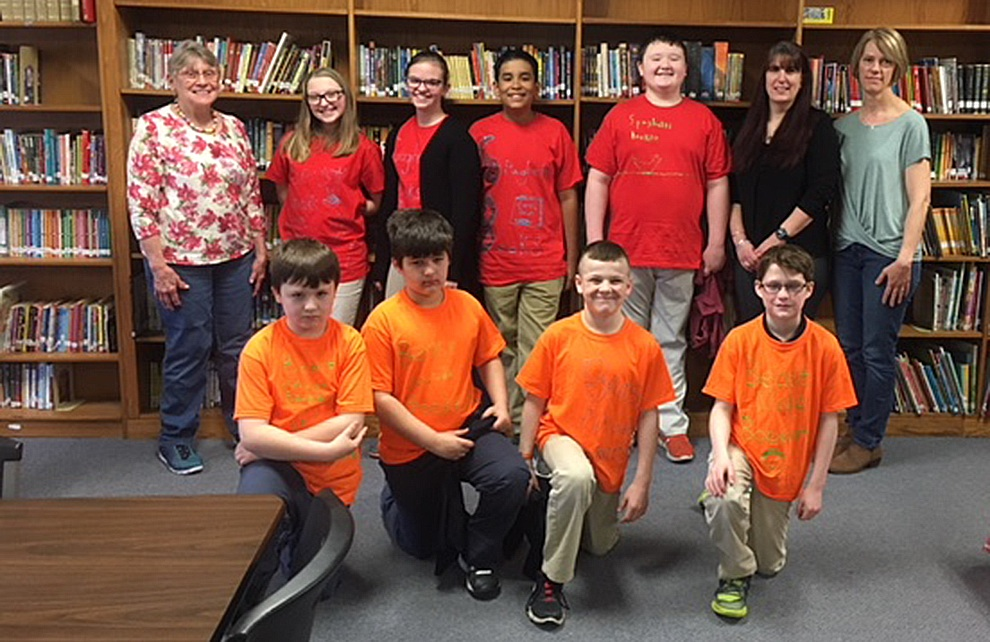 "Battle of the Books Congratulations to St. James students for their excellent participation in the North Country Library System's local ""Battle of the Books"". The event took place Monday, April 9th at St. James School Library.  Team, ""Beast Mode Bookers"" battled fellow schoolmates, team ""Spaghetti Books"". ""Spaghetti Books"" took the win in a close match and will compete in the Regional ""Battle of the Books"" on May 5th. Pictured front row left to right: Team ""Beast Mode Books""-Zackery Schiszler, Noah Friot, James Minckler and Joshua Billings. Pictured Back row left to right: Lynne Matott- St. James Librarian, Team ""Spaghetti Books"" (Faith Leader, Carly Barr, Jaden Rodriguez and Kaden Schiszler), Linda Adams-Director Gouverneur Public Library and Laurel Bartholomew, Book Battle Coach."