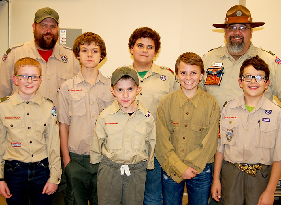 Back Row (from left): Assistant Scoutmaster Justin Bristol, Randy Gilson, Colby Delorme, Scoutmaster Chris Velez. Front Row: Bryan Marsh, Kyle Bristol, Devin Chase, Jack Velez. (photo provided)