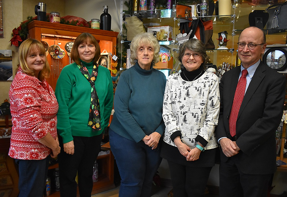 Presenters of the Gouverneur Hospital Gift Shop grand opening. From left: Robin Truax-Treasurer of the gift shop, Kim Halpin-Director of the gift shop, Linda Love-Auxiliary President, Bonnie Reed gift shop staff and Dave Bender, CEO of Gouverneur Hospital. (photo by Jessyca Cardinell)