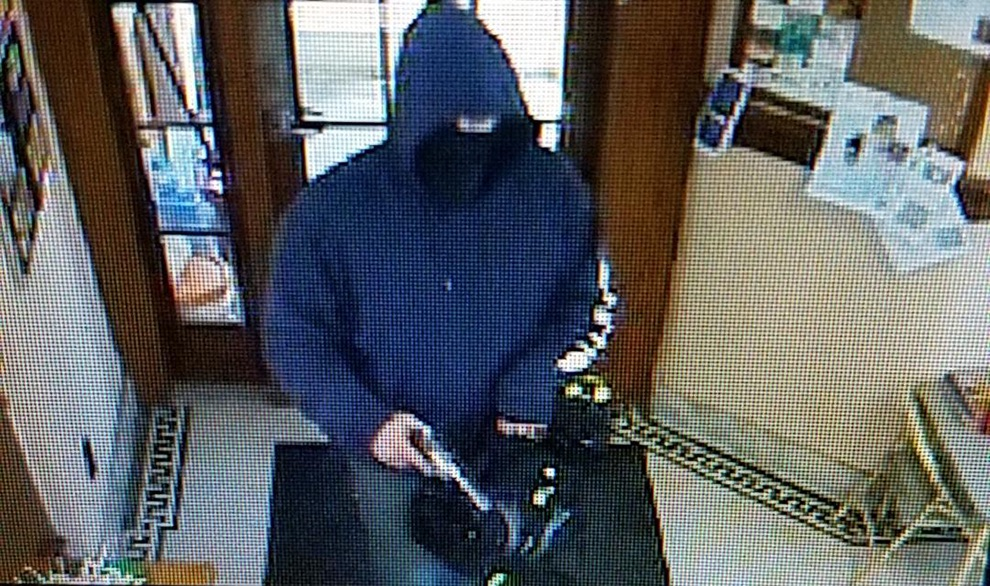 Security footage from the Community Bank, NA in Hermon as it was being robbed. (photo provided)
