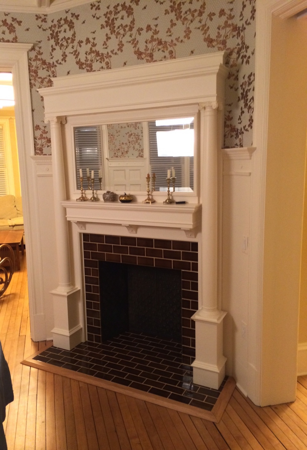 Fireplace subway tile