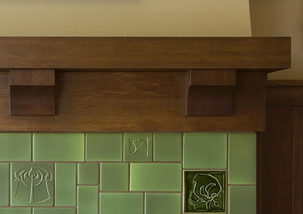 Arts and Crafts fireplace tile detail