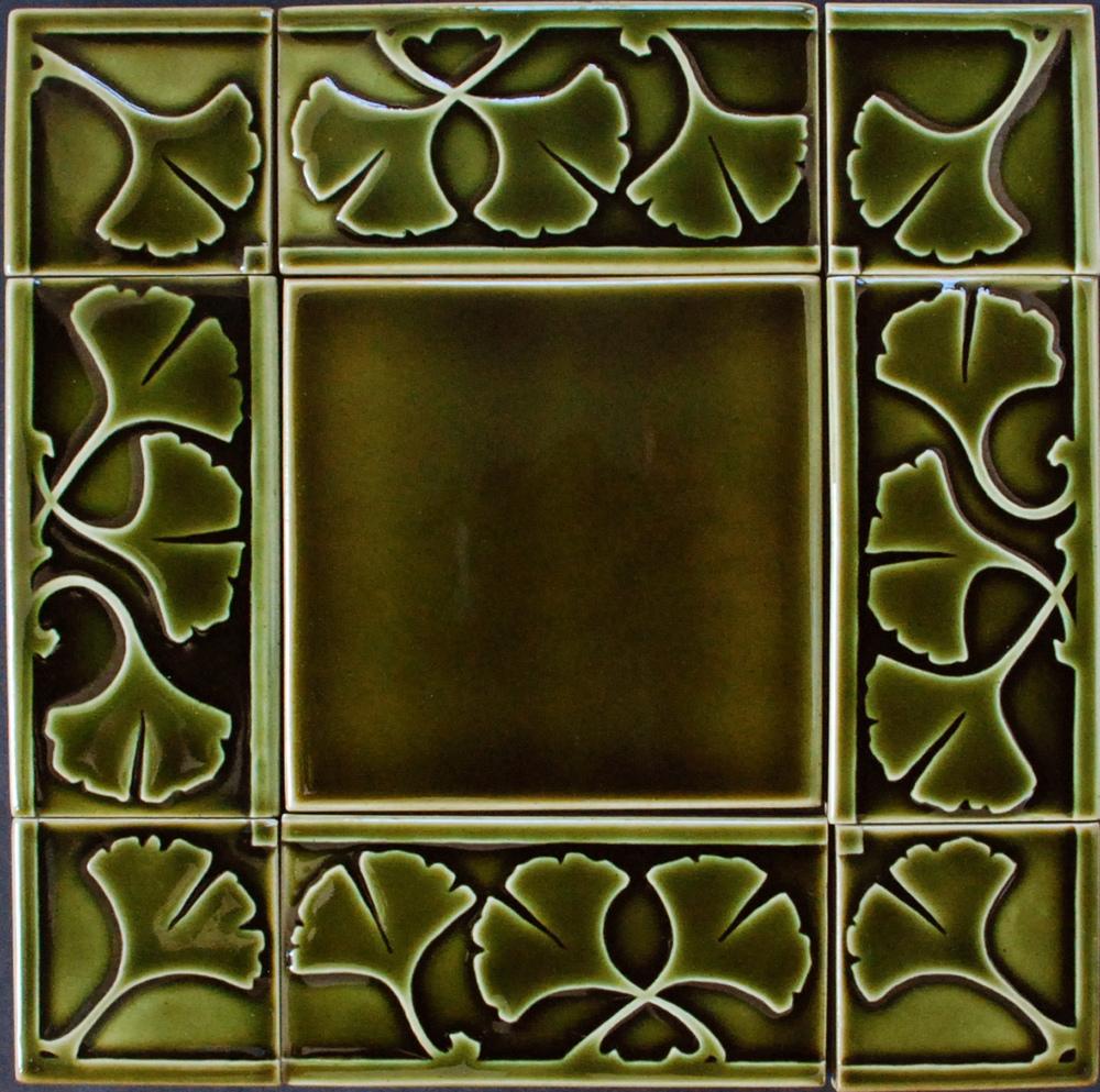 """Gingko Border 6"""" x 3"""" olive glaze"""