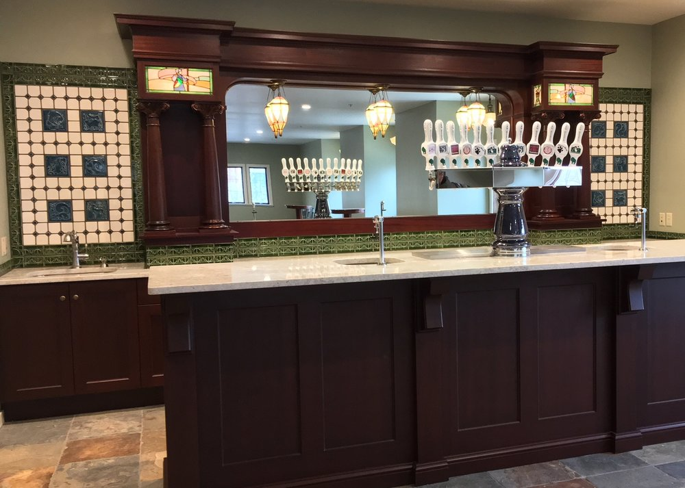 New Glarus Brewery tile back bar