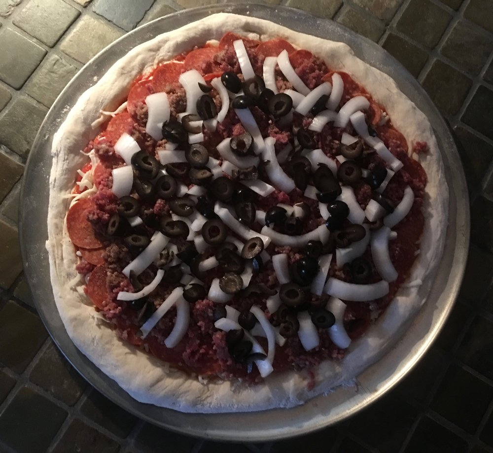 This is the pizza prior to going in the oven.