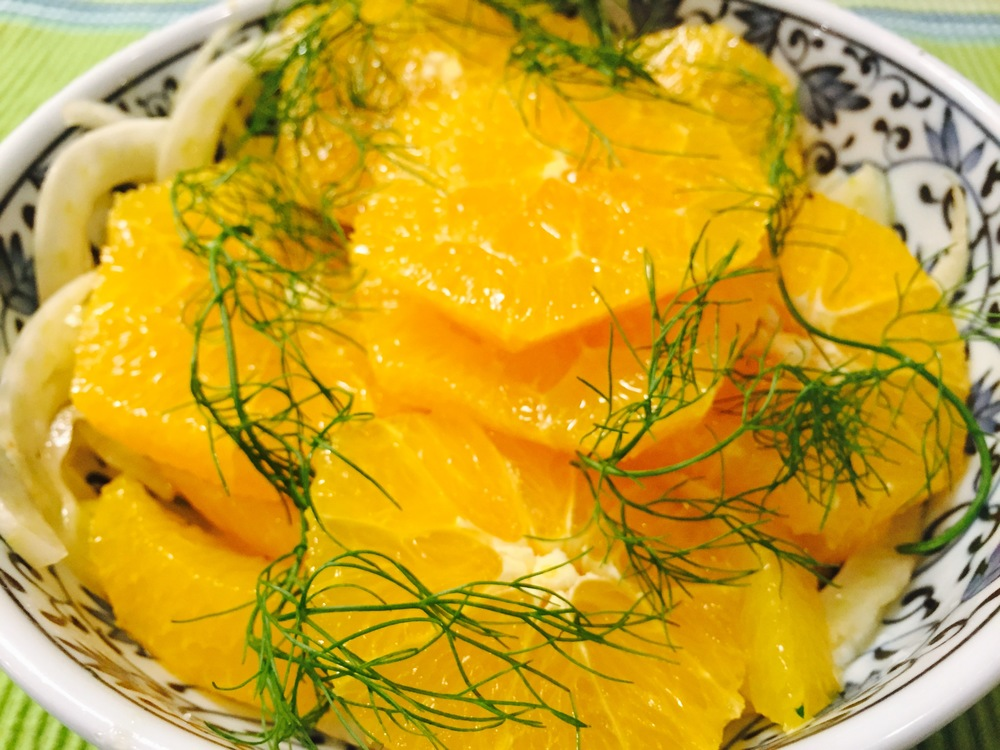Bejeweled orange, fennel, and dill salad