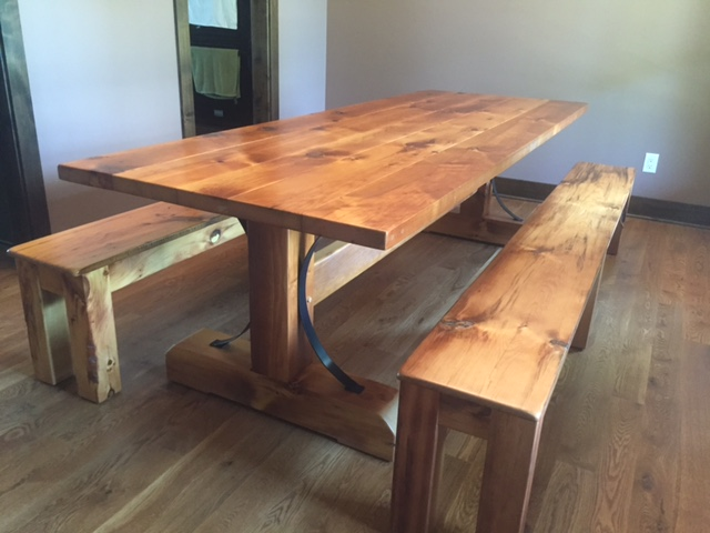 Pine Barnwood Trestle Table Made Utilizing Wood From The Owners Family Farm.