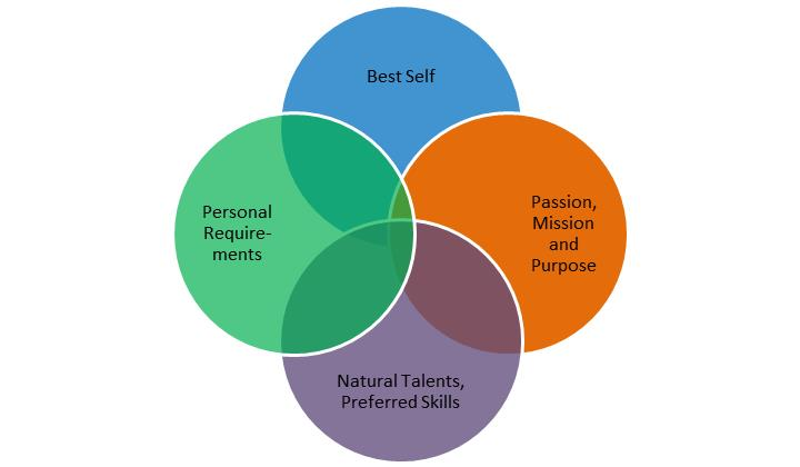 The Four Career Domains: The overlap is where your ideal career lies.