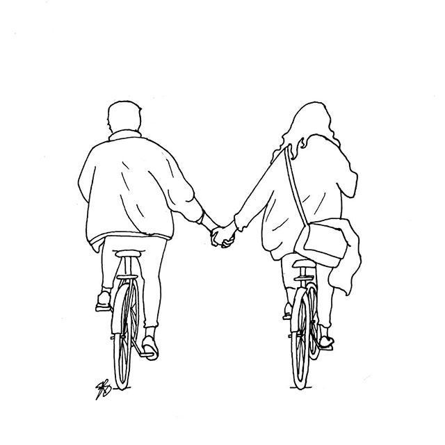 Seen in Amsterdam ❤ • • • • • #drawing #sketching #sketch #sketchaday #dailysketch #penandink #amsterdam #holland #netherlands #dutch #bike #bicycle #fiets #iamsterdam #amsterdam #thenetherlands #holdinghands #blackandwhite