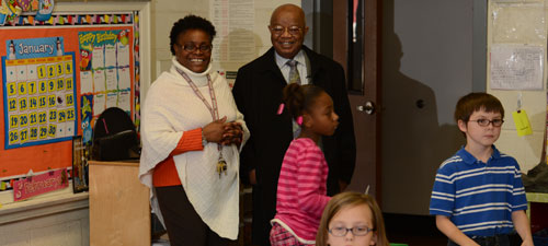 Dr. Comer visits a class at Washington Street