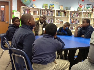 Hartsville Police Chief James Hudson visits with fourth and fifth graders at West Hartsville Elementary