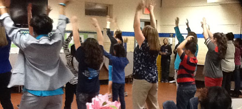 Zumba class was an illustration of working on the physical pathway at WHE Jan 2014 PTO meeting