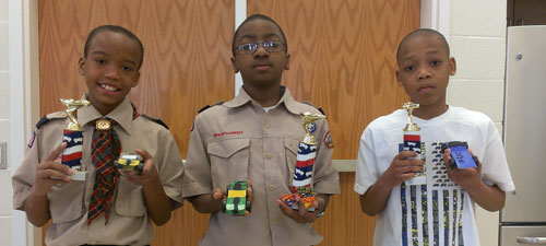 (L-r) Austin Burgess, Keyshawn Dolford and Keenan Mitchell, from Pack 544, West Hartsville Elementary.