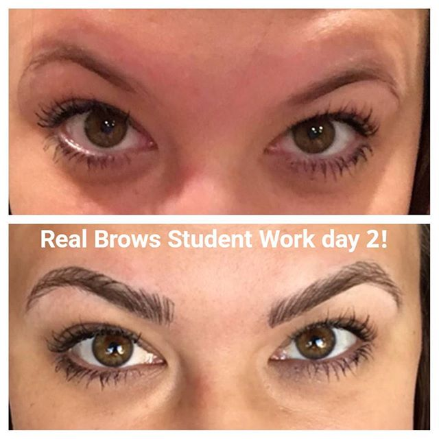 Student Christa's work on day 2 of class -  from the Perrysburg OH Real Brows (Microblading) class. Train with us today and start your career tomorrow!💜 #browtraining #browtransformation #microblading #microbladingtraining #realbrows #realeyezbeautygroup #3dembroidery #3dbrows #browbeauty #realbrows #realbrowschangelives