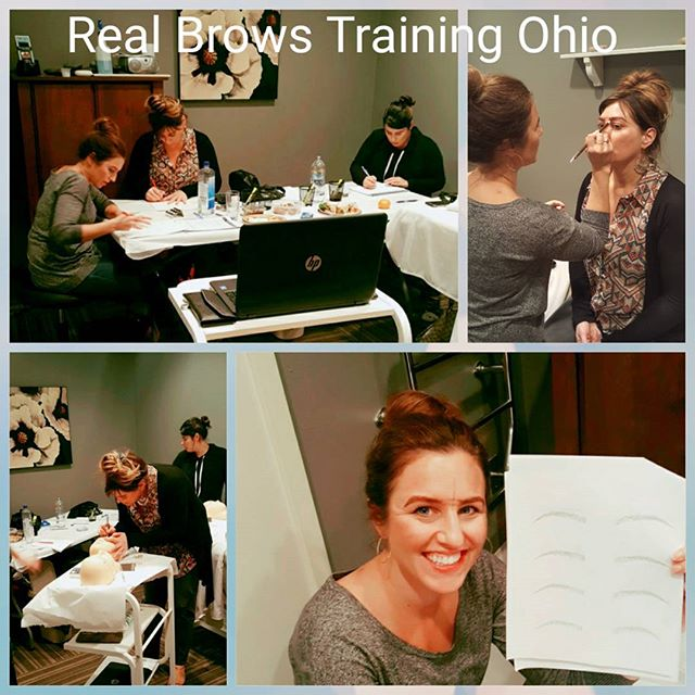 What a great first day of #realbrowstraining. Four #esthetician #beauties preparing to be the best #microblading artists in their city of #perrysburg #ohio. Can't wait to show their work tomorrow on day 2 👐👐. #microbladingtraining #microblading #realbrows #eyebrows #eyebrowetching #beautyblog #realbrowschangelives