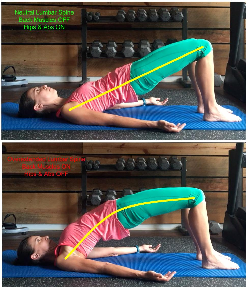 A common error, especially in those who tend to be flexible.  Focus on keeping the core engaged by bringing the ribs down as you use your glutes to achieve full hip extension.