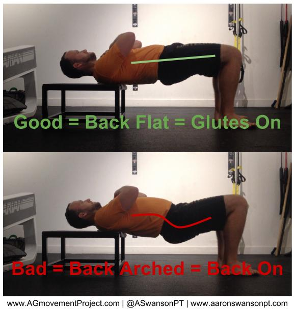 "A more common error for those who tend to be more ""tight"".  It's important to assess your hip flexor mobility first, then make sure you only extend your hips as far as you can without extending your back."