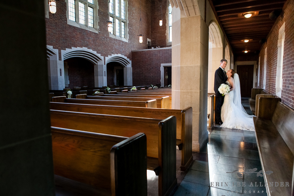 Bride and Groom in Historic Church