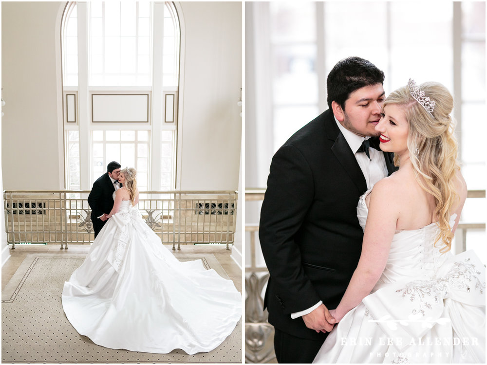 WeddingAngela Proffitt Winter Wedding Schmerhorn Symphony Center in Nashville, Tennessee photographed by Erin Lee Allender._Dress_With_Bow