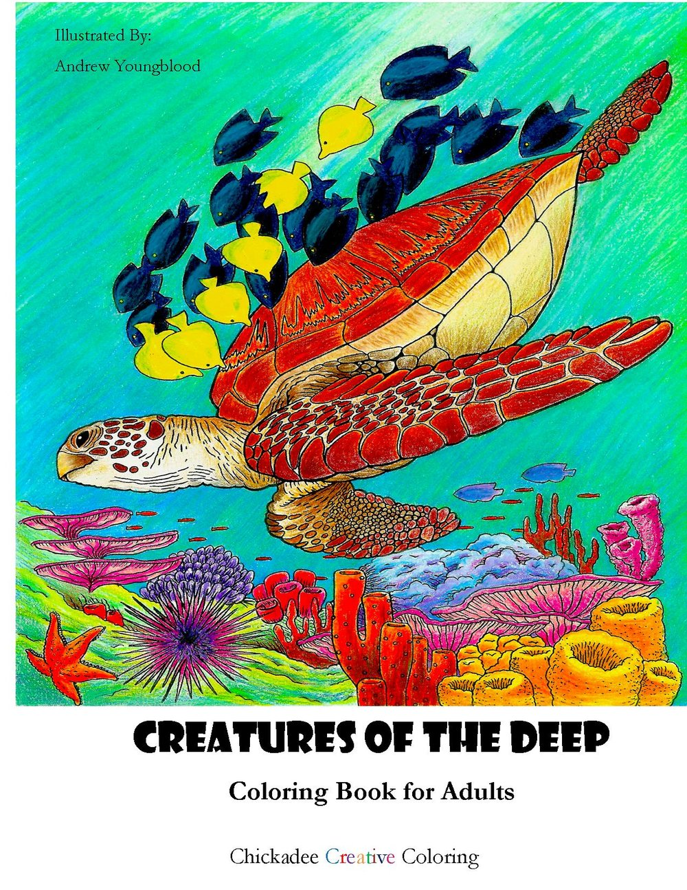 Creatures of the Deep, Coloring Book for Adults — Chickadee Creative ...