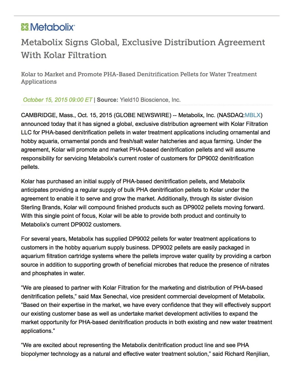 Metabolix Signs Global, Exclusive Distribution Agreement With Kolar Filtration Nasdaq_YTEN1.jpg