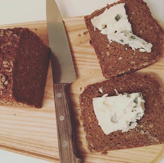 It's the simple things in life.  Like when your husband is working late, and you get to slather Roquefort all over some fresh sunflower seed bread for dinner.  #cheesefordinner #roquefort #sonnenblumen #sonnenblumenbrot #simplethingsmakemehappy