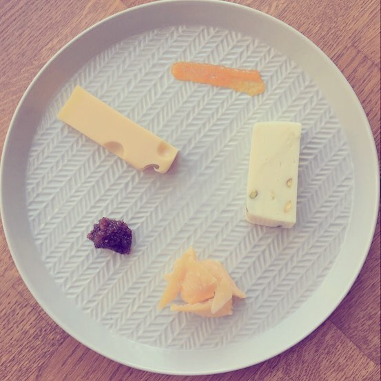 Cheese for breakfast.  Sheep's Milk Cheese with Pistachios from @luisakocht, Emmental from Der Allgäuer Käseladen, Aged Gouda from @biocompanyofficial.  Complemented by Confiture Orange with Madeira Wine and Black Fig Jam with Australian Macadamias and Jamaican Allspice, both from @vonundzutisch. #cheeseforbreakfast #berlinfood #berlinfoodie #berlinmitte #gourmetberlin #culturecheese #emmentaler #sheepscheese #agedgouda #berlineats #cheesepairing #ooohberlin