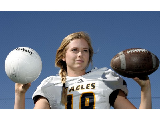 Rancho Christian's Emma Baker, is the kicker for the school's football team and a star player on the volleyball team at Rancho Christian High School in Temecula.