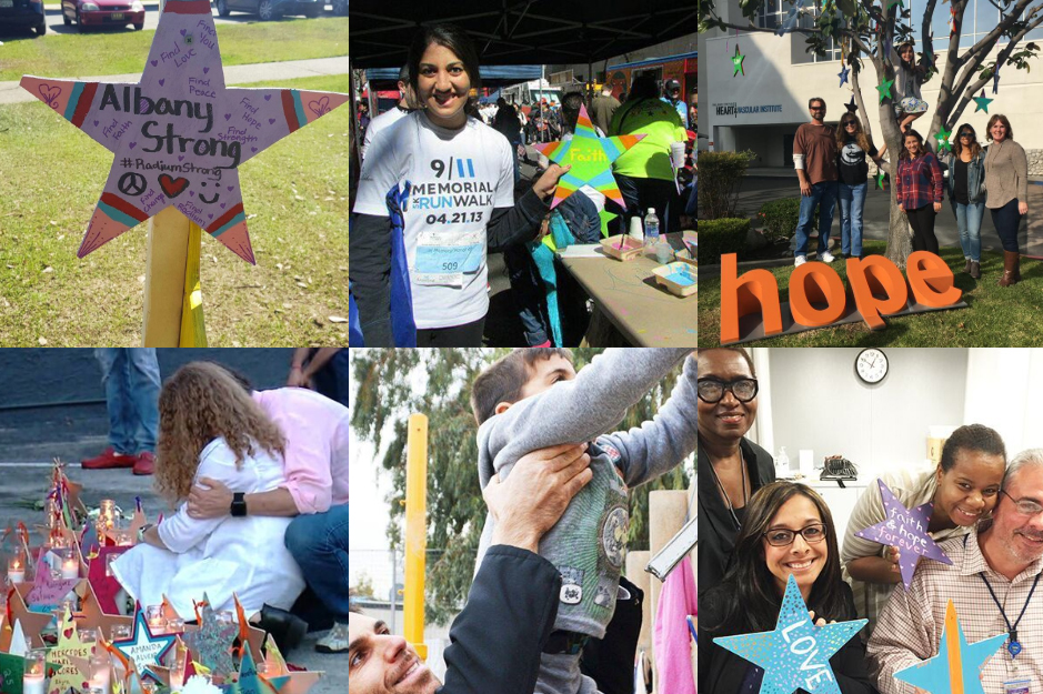 "STARS OF HOPE    Since 2007, over 80,000 hand-painted Stars of HOPE® have lifted the spirits of millions of disaster survivors in 150 communities and 24 countries. Stars of HOPE is a registered trademark of New York Says Thank You Foundation.  Stars of HOPEⓇ started with two families in Greensburg, KS in 2007. The Parness family in New York who wanted to ""Pay it Forward"" for the love NYC received from people around the world following 9/11 and the Vincent family from Groesbeck, TX who wanted to ""Pay it Forward"" for the support received when New York Says Thank You volunteers rebuilt their home following a deadly tornado.  Stars of HOPE have transformed the physical and emotional landscapes of communities devastated by acts of nature or acts of violence from Newtown, Connecticut to Kathmandu, Nepal.  We have empowered 50,000+ volunteers including school children, families, seniors, first responders, veterans, active military, partner organizations, and entire communities to paint inspirational words, messages, and designs on 1-foot wooden Stars. These Stars of HOPE are displayed in public places in communities worldwide in the immediate and long-term aftermath of tragedy serving as beacons of hope and compassion for all to see."