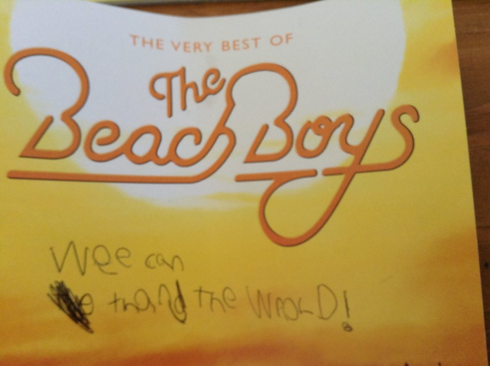 "The B wrote on his Beach Boys CD insert - not even mad.  By ""Wee can thang the wrold"" he of course meant ""We can change the world."""