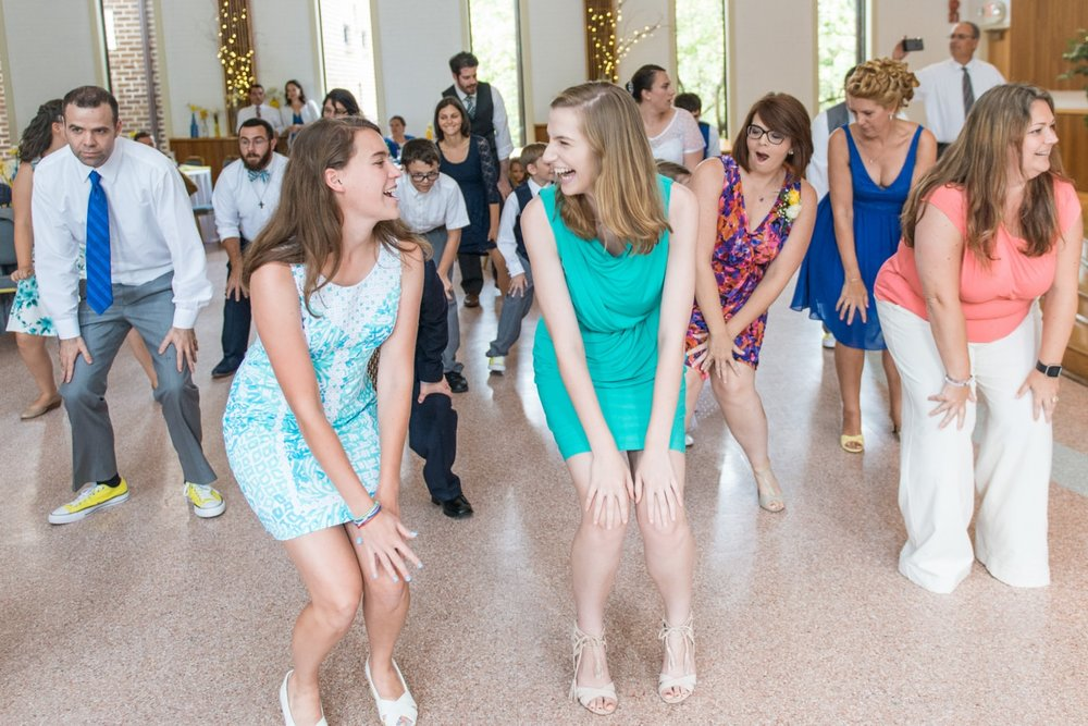 Dancing at a wedding reception at St Mark Catholic Church in Vienna, Virginia